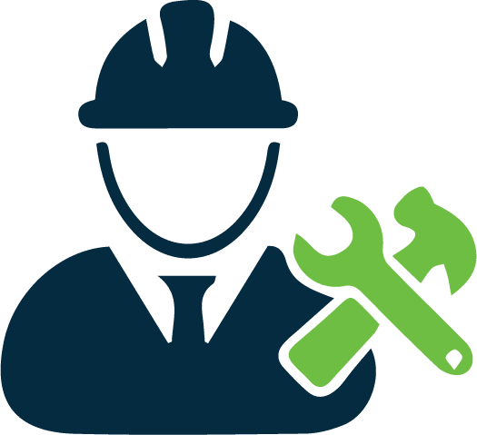 Stylized icon of a construction worker with tools