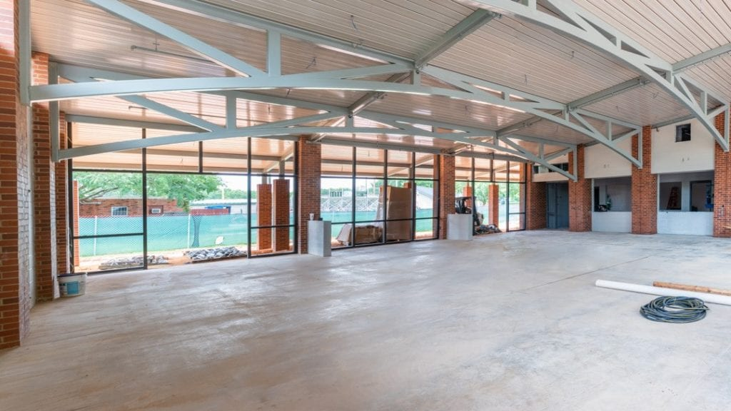 Photo of the interior of Catholic High School Student Life Center, a commercial construction project of Bear General Contractors
