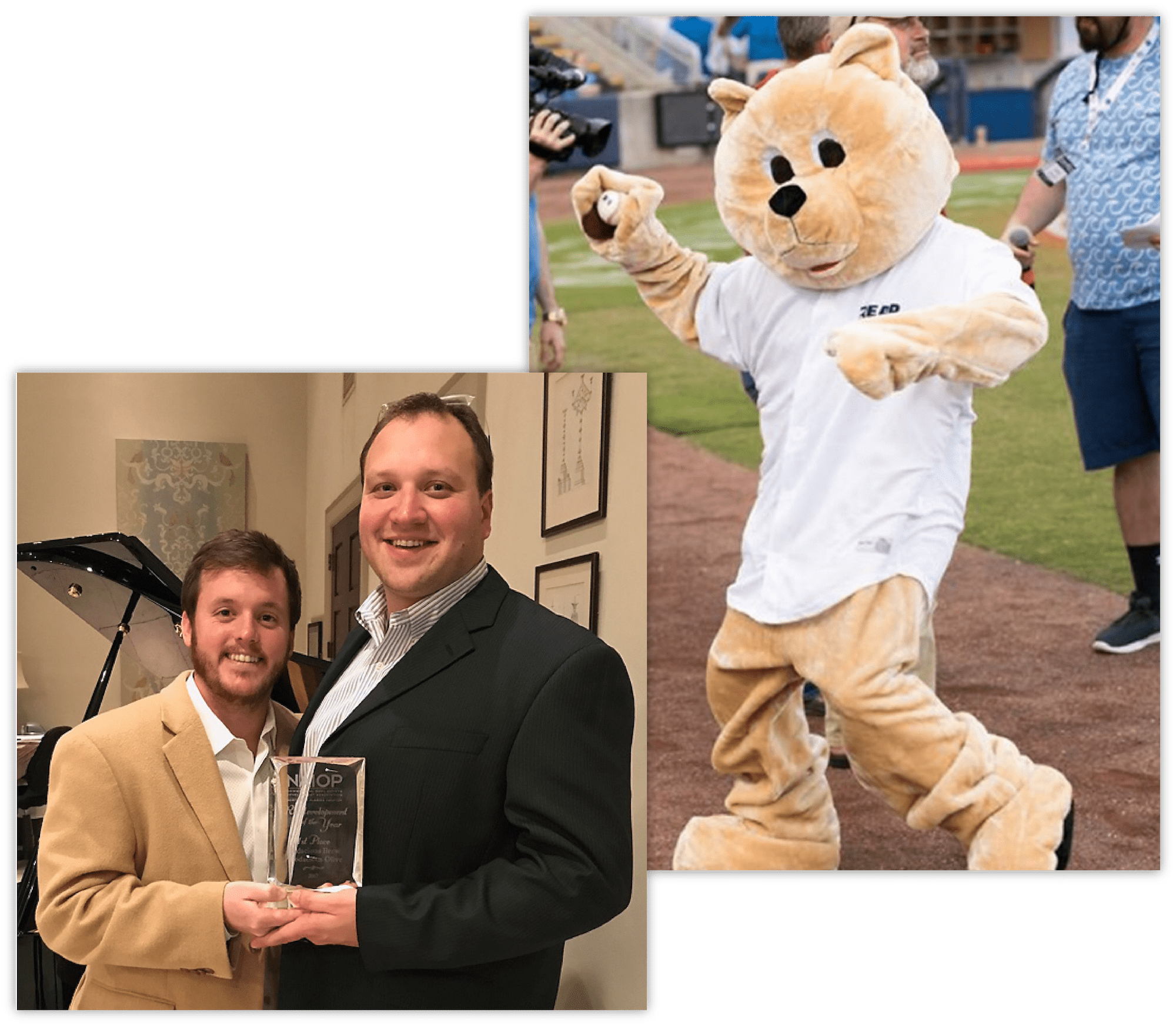 Photo of co-founder of Bear General Contractors Chris Jaubert receiving an award and a photo of Bear General Contractors' mascot