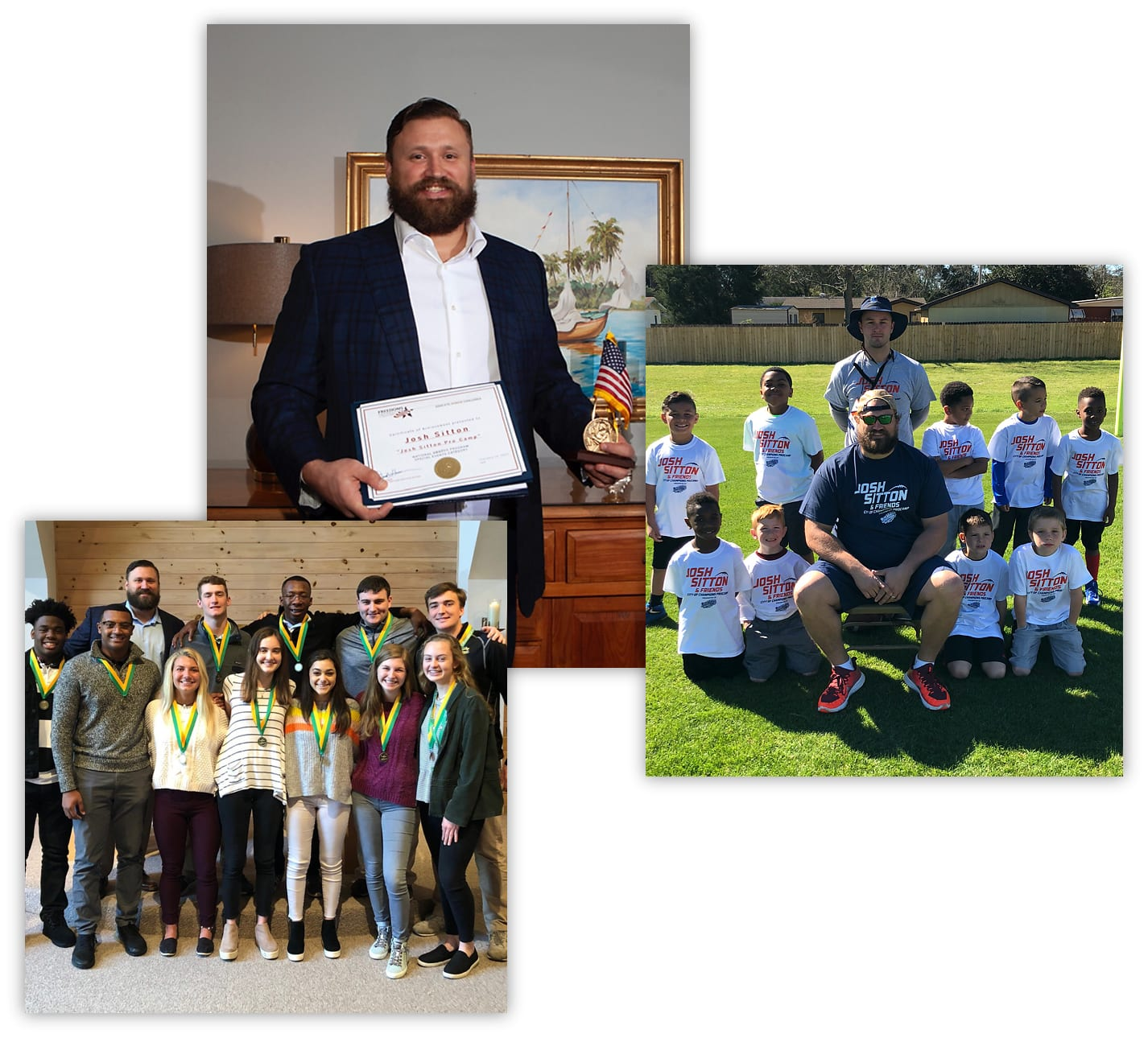 Photo of co-founder of Bear General Contractors Josh Sitton posing with an award with two more photos of Josh Sitton posing with community youths
